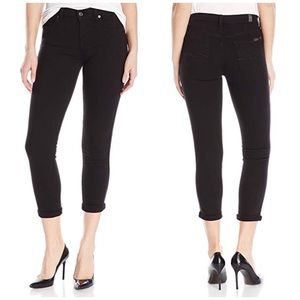 7FAM Super Skinny Crop & Roll Black Jeans A0562